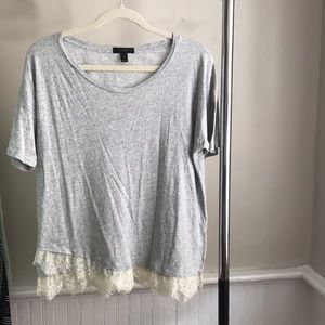 J.crew grey tee with lace bottom